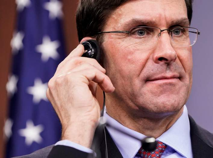 U.S. Secretary of Defense Mark Esper reacts during a joint news conference with Japan's Defense Minister Taro Kono at the Pentagon in Washington, U.S., January 14, 2020. REUTERS/Joshua Roberts