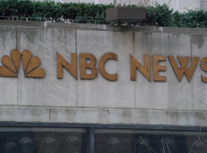 A sign is pictured outside NBC headquarters at Rockefeller Center in the Manhattan borough of New York City, New York, U.S., January 16, 2020. REUTERS/Carlo Allegri