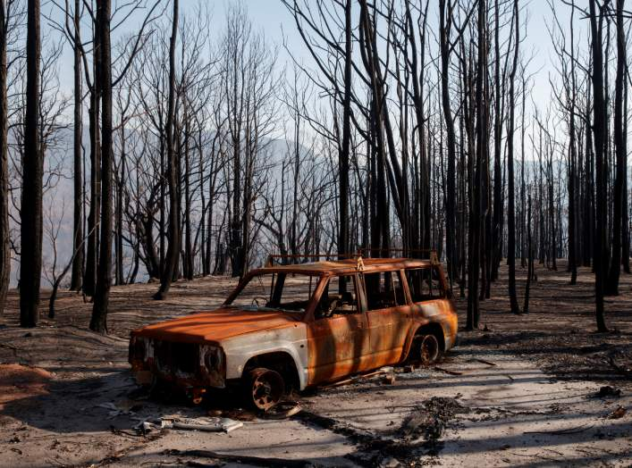 A burned car stands amid dead trees after a wildfire destroyed the Kangaroo Valley Bush Retreat in Kangaroo Valley, New South Wales, Australia, January 23, 2020. REUTERS/Thomas Peter