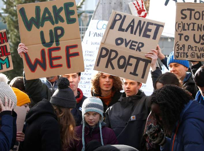 Swedish climate change activist Greta Thunberg takes part in a climate strike protest during the 50th World Economic Forum (WEF) annual meeting in Davos, Switzerland, January 24, 2020. REUTERS/Denis Balibouse