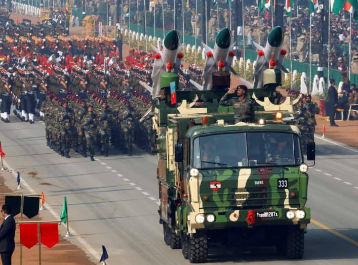 "India's ""Akash"" missiles, mounted on a truck, are displayed during Republic Day parade in New Delhi, India, January 26, 2020. REUTERS/Altaf Hussain"