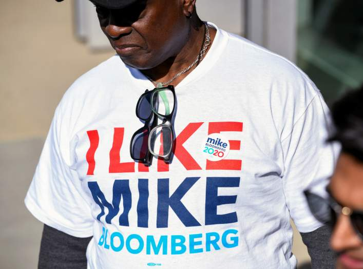 A t-shirt supporting Democratic presidential candidate Michael Bloomberg is seen at a Bloomberg campaign visit at the Dollarhide Community Center in Compton, California, U.S. February 3, 2020. REUTERS/Andrew Cullen
