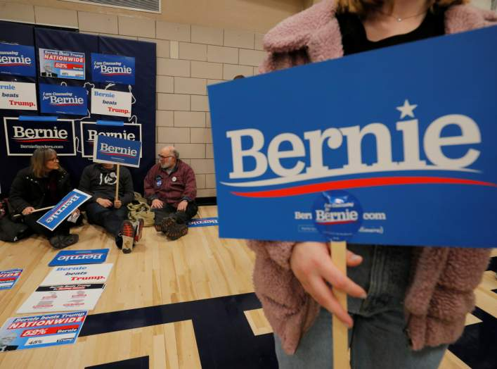 Supporters of Democratic 2020 U.S. presidential candidate and U.S. Senator Bernie Sanders (I-VT) wait at their caucus site in Des Moines, Iowa, U.S., February 3, 2020. Picture taken February 3, 2020. REUTERS/Brian Snyder