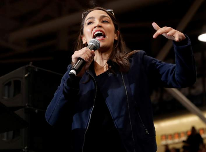 U.S. Representative Alexandria Ocasio Cortez (D-NY) speaks to introduce Democratic U.S. presidential candidate Senator Bernie Sanders at a campaign rally and concert at the University of New Hampshire one day before the New Hampshire presidential primary