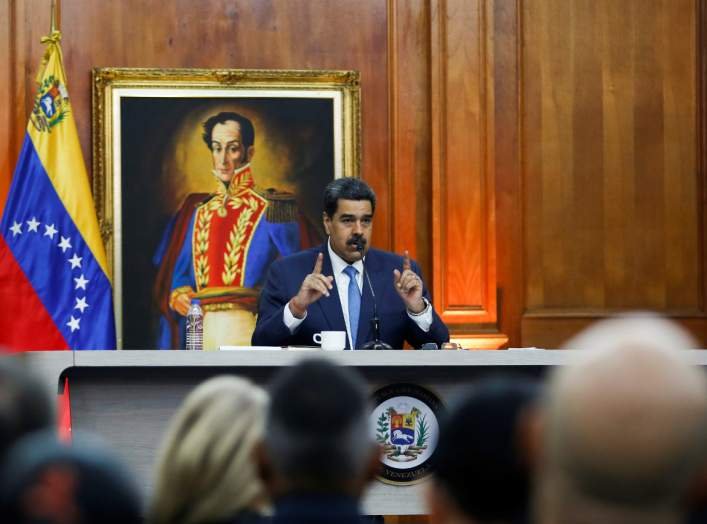 Venezuela's President Nicolas Maduro speaks during a news conference in Miraflores Palace in Caracas, Venezuela, February 14, 2020. REUTERS/Fausto Torrealba