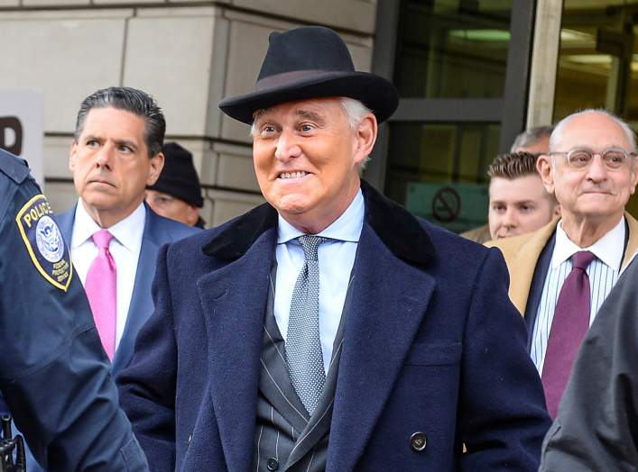 Former Trump campaign adviser Roger Stone departs after he was sentenced to three years and four months in prison for charges that include lying to Congress, obstruction of justice and witness tampering, at U.S. District Court in Washington, U.S., Februar