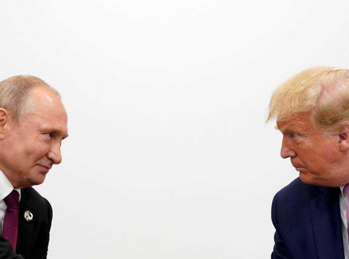 U.S. President Donald Trump and Russian President Vladimir Putin hold a bilateral meeting at the G20 leaders summit in Osaka, Japan June 28, 2019. REUTERS/Kevin Lamarque
