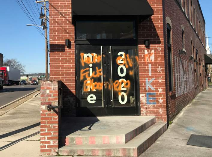 Democratic presidential candidate Michael Bloomberg's Knoxville campaign office is seen vandalized, in Tennessee, U.S. February 21, 2020. Hayes Hickman/Knoxville News Sentinel