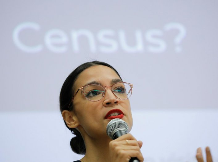 U.S. Rep. Alexandria Ocasio-Cortez (D-NY) participates in a Census Town Hall at the Louis Armstrong Middle School in Queens, New York City, U.S., February 22, 2020. REUTERS/Andrew Kelly