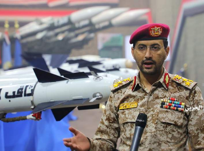 Houthi Military Spokesman, Yahya Sarea, gives a statement during an exhibition of surface-to-air missiles in an unidentified location of Yemen, in this undated handout photo released by the Houthi Media Office on February 23, 2020. Houthi Media Office