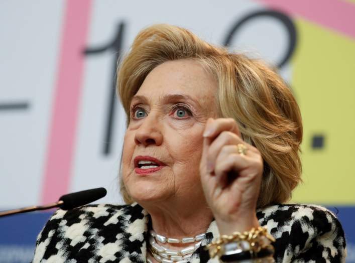 "Hillary Clinton gestures as she attends a news conference to promote the movie ""Hillary"" during the 70th Berlinale International Film Festival in Berlin, Germany February 25, 2020. REUTERS/Michele Tantussi"