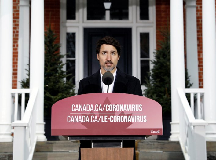 Canada's Prime Minister Justin Trudeau speaks during a news conference at Rideau Cottage as efforts continue to help slow the spread of coronavirus disease (COVID-19), in Ottawa, Ontario, Canada March 29, 2020. REUTERS/Blair Gable