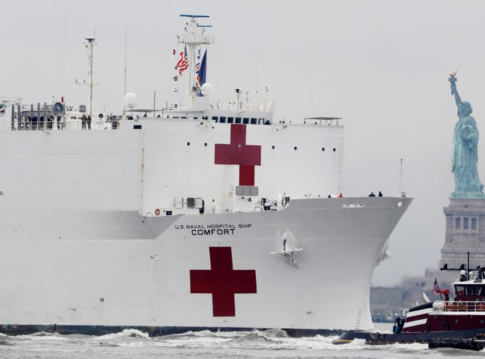 The USNS Comfort passes the Statue of Liberty as it enters New York Harbor during the outbreak of the coronavirus disease (COVID-19) in New York City, U.S., March 30, 2020. REUTERS/Andrew Kelly