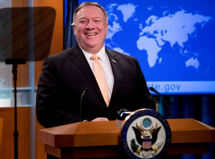 U.S. Secretary of State Mike Pompeo attends a news conference at the State Department, in Washington, U.S., March 31, 2020. Andrew Harnik/ Pool via REUTERS