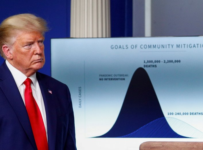 "FILE PHOTO: U.S. President Donald Trump listens stands in front of a chart labeled ""Goals of Community Mitigation"" showing projected deaths in the United States after exposure to coronavirus as 1,500,000 - 2,200,000 without any intervention and a projecte"