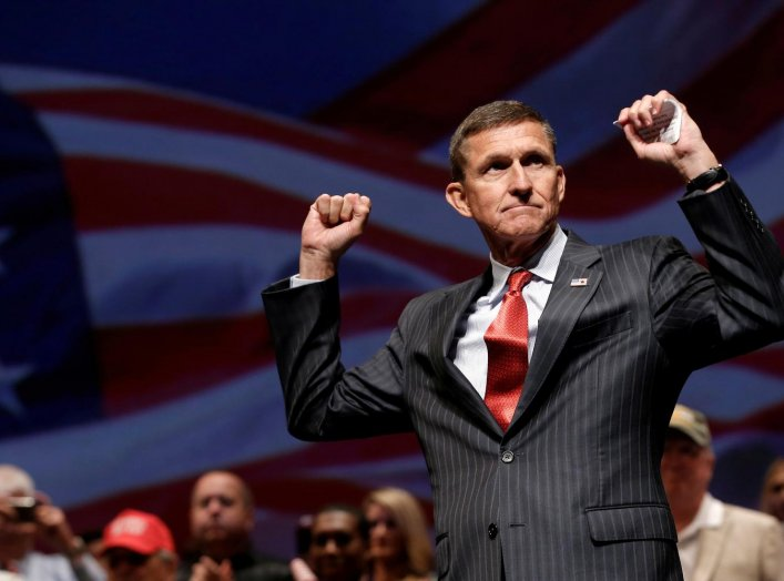 Retired U.S. Army Lieutenant General Michael Flynn reacts at a campaign event for then Republican presidential nominee Donald Trump in Virginia Beach, Virginia, U.S., September 6, 2016. Picture taken September 6, 2016. REUTERS/Mike Segar