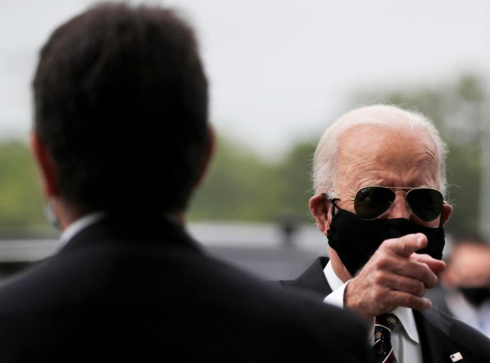 Democratic U.S. presidential candidate and former Vice President Joe Biden is seen at War Memorial Plaza during Memorial Day, amid the outbreak of the coronavirus disease (COVID-19), in New Castle, Delaware, U.S. May 25, 2020. REUTERS/Carlos Barria
