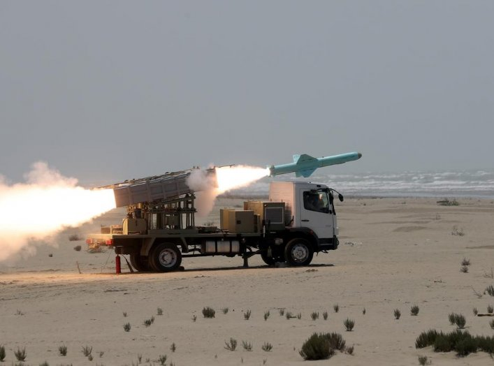 An Iranian locally made cruise missile is fired during war games in the northern Indian Ocean and near the entrance to the Gulf, Iran, June 17, 2020. Picture taken June 17, 2020. WANA (West Asia News Agency) via REUTERS