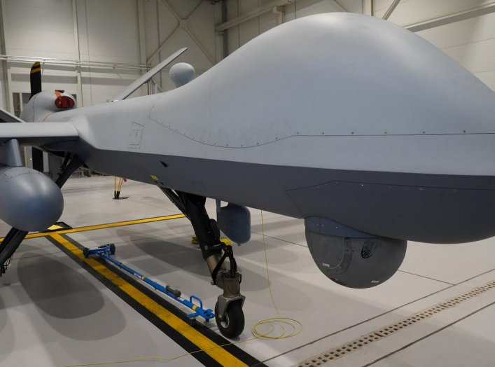 A U.S. Air Force MQ-9 Reaper drone sits in a hanger at Amari Air Base, Estonia, July 1, 2020. U.S. unmanned aircraft are deployed in Estonia to support NATO's intelligence gathering missions in the Baltics. REUTERS/Janis Laizans
