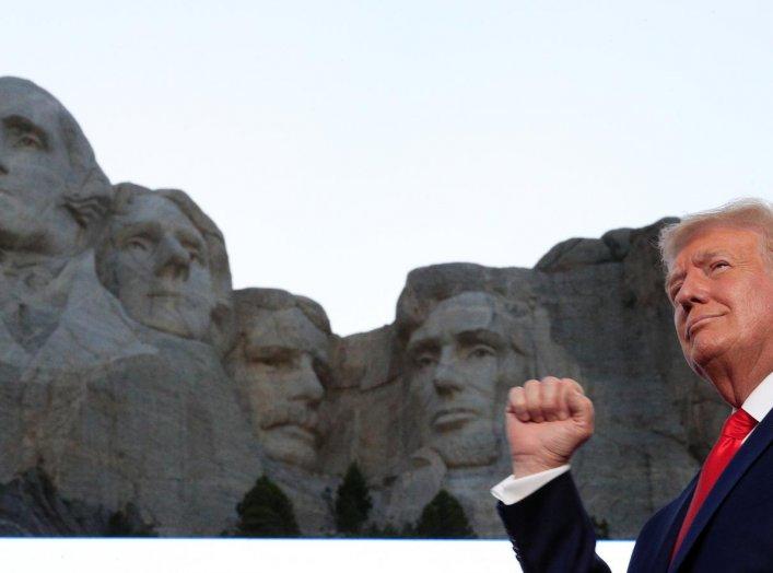U.S. President Donald Trump attends South Dakota's U.S. Independence Day Mount Rushmore fireworks celebrations at Mt. Rushmore in Keystone, South Dakota, U.S., July 3, 2020. REUTERS/Tom Brenner