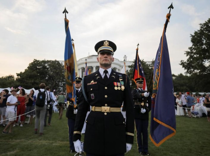 "A U.S. military color guard stands on the White House South Lawn after U.S. President Donald Trump hosted a 4th of July ""Salute to America"" to celebrate the U.S. Independence Day holiday at the White House in Washington, U.S., July 4, 2020. REUTERS/Carlos"