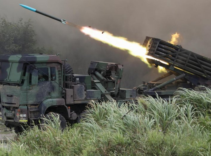 Multiple Launch Rocket System (MLRS) Thunderbolt-2000 fires rockets during the live-fire, anti-landing Han Kuang military exercise, which simulates an enemy invasion, in Taichung, Taiwan July 16, 2020. REUTERS/Ann Wang