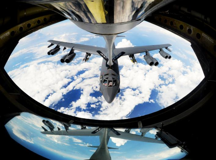 A U.S. Air Force B-52 Stratofortress aircraft assigned to Barksdale Air Force Base, La., receives fuel from a KC-135 Stratotanker out of RAF Mildenhall, England, above the Mediterranean Sea, Sept. 27, 2017.