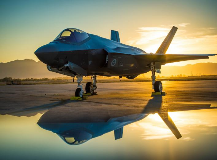 The sun sets behind an Australian F-35A Lighting II aircraft at Luke Air Force Base, Ariz., June 27, 2018. The first Australian F-35 arrived at Luke in December, 2014. Currently six Australian F-35's are assigned to the 61st Fighter Squadron where their p