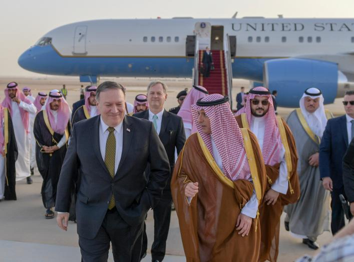U.S. Secretary of State Mike Pompeo is greeted by Saudi Foreign Minister Adel al-Jubeir, in Riyadh, Saudi Arabia, on April 28, 2018. Flickr / U.S. Department of State