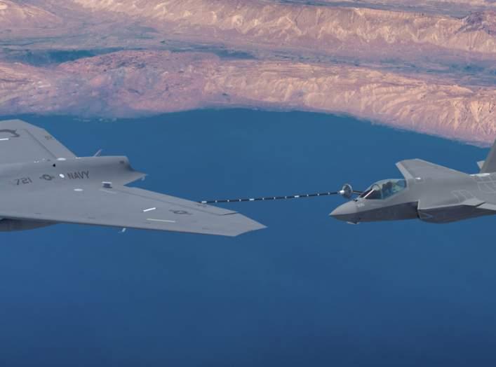 Lockheed Martin MQ-25 refuels a Lockheed Martin F-22 Raptor