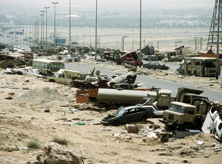 https://en.wikipedia.org/wiki/Highway_of_Death#/media/File:Demolished_vehicles_line_Highway_80_on_18_Apr_1991.jpg