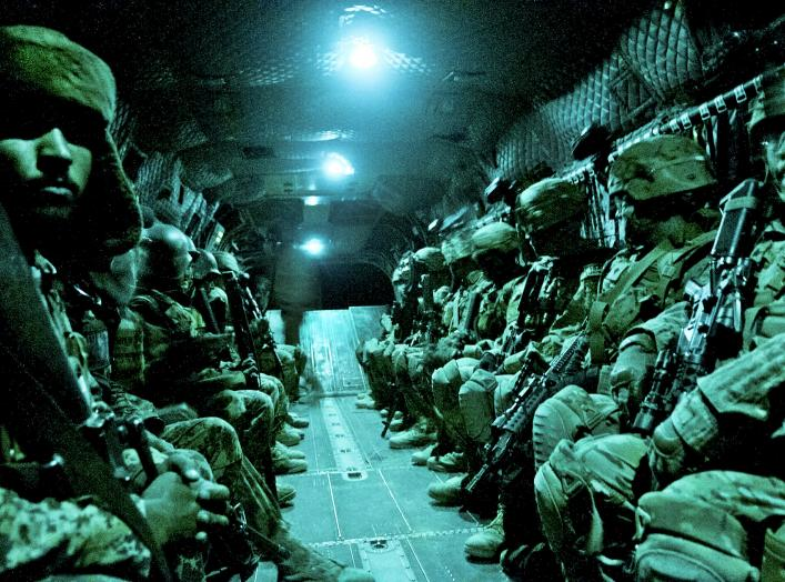 Paratroopers with the 82nd Airborne Division's 1st Brigade Combat Team and Afghan National Army soldiers with 6th Kandak, 203rd Corps, travel aboard a CH-47 Chinook heavy lift helicopter during an air assault mission May 4, 2012, Ghazni Province, Afghanis