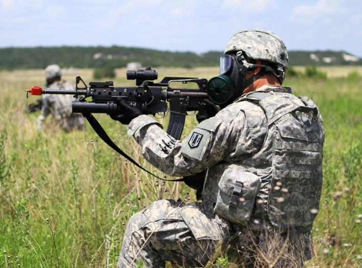 A Soldier from Headquarters and Headquarters Battery, 41st Fires Brigade, pulls security during the CBRN lane at the unit's pre-deployment training at Fort Hood, Texas.