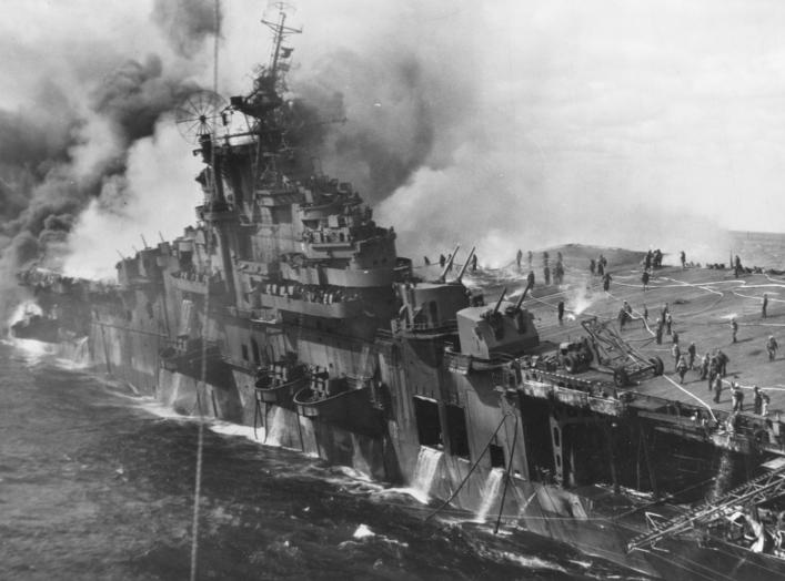 https://en.wikipedia.org/wiki/USS_Franklin_(CV-13)#/media/File:USS_Franklin_(CV-13)_afire_and_listing_after_a_Japanese_air_attack_on_19_March_1945_(80-G-273882).jpg