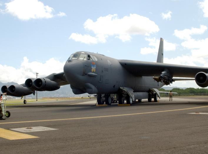 HICKAM AIR FORCE BASE, Hawaii -- A B-52 Stratofortress is prepared for take off on the runway April 6. Four B-52s arrived here from Andersen Air Force Base, Guam, to escape Typhoon Sudal which missed the island April 7.