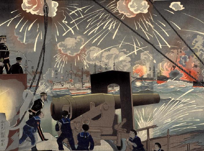 Ukiyoe nishiki-e woodblock print by Kobayashi Kiyochika Inoue Kichijirô depicting the Naval Battle of the Yellow Sea (Yalu River)in Korea (Chôsen Hôtô kaisen no zu) in the First Sino-Japanese War, dated 1894