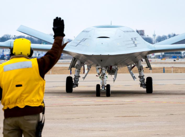 WASHINGTON (Aug. 30, 2018) File photo dated January 29, 2018. Boeing conducts MQ-25 deck handling demonstration at its facility in St. Louis, Mo. (U.S. Navy photo courtesy of The Boeing Co.)