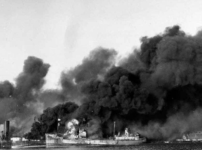 Bombardment of Bari. 2 December 1943. Wikimedia.