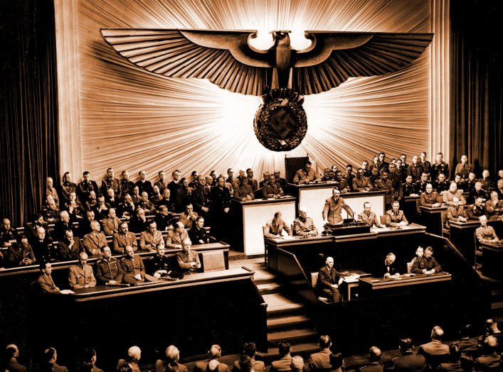 Adolf Hitler delivers a speech at the Kroll Opera House to the men of the Reichstag on the subject of Roosevelt and the war in the Pacific, declaring war on the United States.