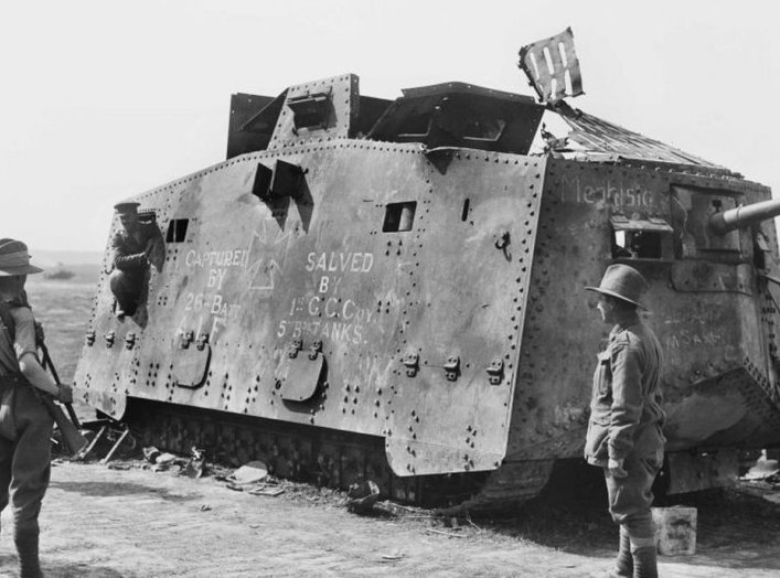 A German A7V tank captured by the 26th Australian battalion, at Monument Wood, near Villers-Bretonneux, in France, on July 14th, 1918. Australian War Museum.