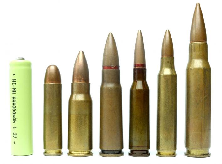 Cartridge Comparison .30 Carbine, 7.92x33mm, 7.62x39mm, 5.45x39mm, 5.56x45mm and 7.62x51mm NATO, 19 November 2019. Grasyl/Wikimedia Commons