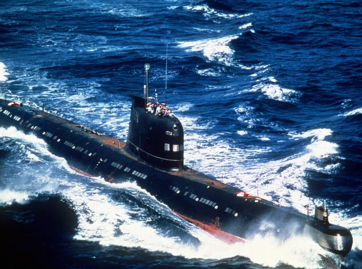 A Soviet-built Cuban Foxtrot Class patrol submarine underway. Date Shot: 1 Aug 1986