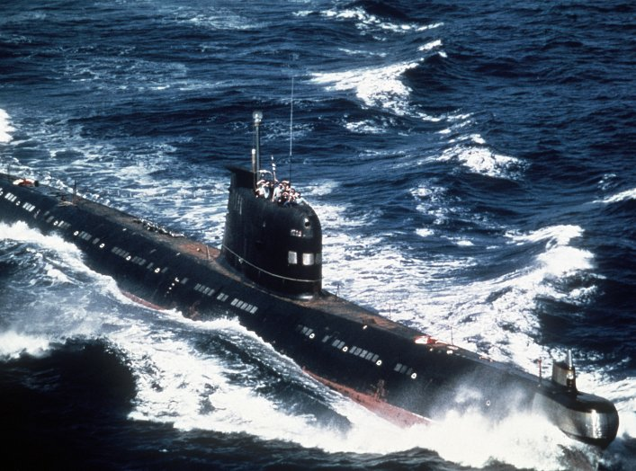 A Soviet-built Cuban Foxtrot Class patrol submarine underway. 1 August 1986. U.S. Navy.