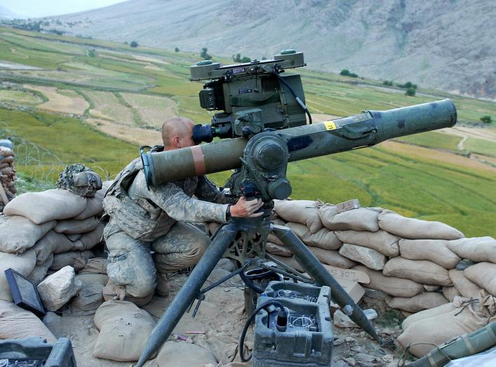 BGM-71 TOW, variant M220, SABER. U.S. Army PFC David Mitchell scans the landscape surrounding Vehicle Patrol Base Badel at the mouth of the Narang Valley in Konar province, Afghanistan, May 9, 2009.