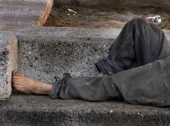 Homeless on bench, Hermosillo, Sonora, Mexico. 25 May 2009. Tomas Castelazo.