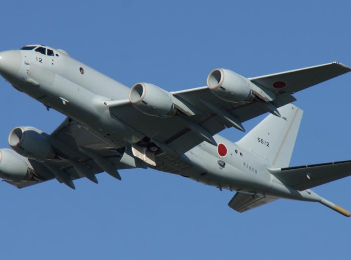 JMSDF P-1(5512) fly over at Tokushima Air Base September 30, 2017. Wikimedia Commons