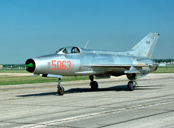 "A Mikoyan-Gurevich MiG-21PF ""Fishbed"" in Vietnamese colours at the National Museum of the United States Air Force."