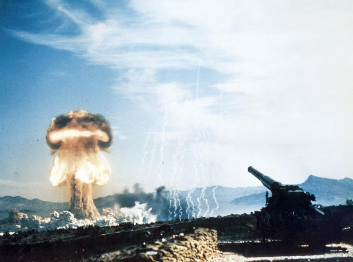 History's first atomic artillery shell fired from the Army's new 280-mm artillery gun. Frenchmen's Flat, Nevada. 25 May 1953. U.S. National Nuclear Security Administration.