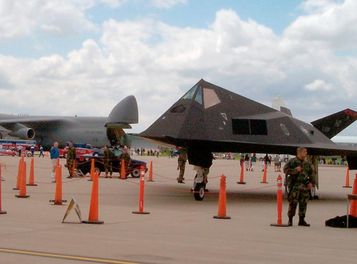 https://www.dvidshub.net/image/760216/f-117-stealth-bomber-with-c-5a-transport-background-flight-line-wright-patterson-air-force