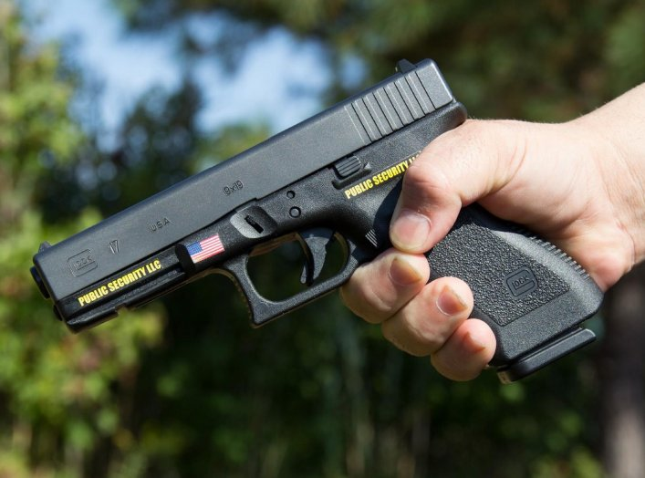 A Glock 17, 9mm pistol used by Public Security LLC. 22 December 2018. Wikimedia/Bdonadio. Creative Commons Attribution-Share Alike 4.0 International.